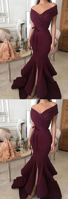 Sexy Evening Dresses,Burgundy Evening New Year Backless Prom Dresses,High-low Evening Dresses,Off Shoulder Party Gowns Prom Dresses 2018, Sexy Dresses, Pretty Dresses, Vintage Dresses, Beautiful Dresses, Fashion Dresses, Dress Prom, Dress Long, 50 Fashion