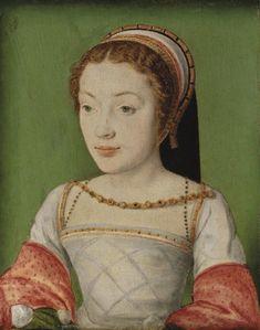 A portrait of Renée de Valois, Duchess of Ferrara, (1510-1547) daughter of Louis XII of France and Anne, Duchess of Brittany. By Corneille de Lyon.