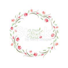 Vetor de flores em aquarela círculo frame - arte vetorial de acervo royalty-free