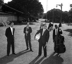 Dave Brubeck, Paul Desmond, Joe Morello and Eugene Wright pose at the Monterey Fairgrounds for a publicity photo to advertise the first Monterey Jazz Festival in October of 1958. (Monterey County Herald Archives)