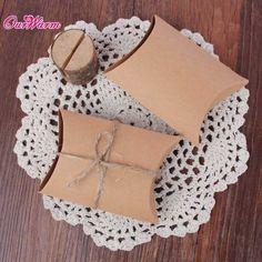 100pcs Kraft Pillow Shape Wedding Favor Gift Bag - Wedding Look