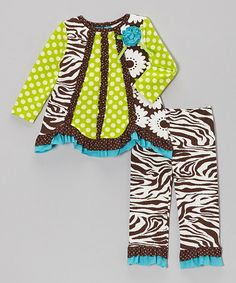 Take a look at this Black & Lime Ruffle Tunic & Pants - Infant by Rare Editions on #zulily today!
