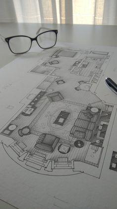 Floorplan of C. Interior Architecture Drawing, Interior Design Renderings, Architecture Concept Drawings, Interior Sketch, Architecture Drawing Sketchbooks, Architecture Design, Interior Design Drawing, House Design Drawing, Autocad 3d