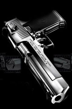 The Desert Eagle, available in .50AE, .44 Magnum and .357 Magnum.