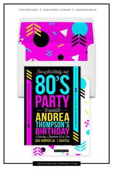 80s Birthday Invitation Adult Party Neon Invite Geometric Bash