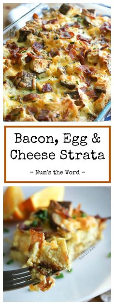Bacon Egg & Cheese Strata is a savory breakfast casserole everyone will love. This breakfast Strata is perfect for Sunday Brunch Easter Brunch Pot Luck or Party! A great way to use up crusty bread! Breakfast Strata, Savory Breakfast, Breakfast Dishes, Breakfast Recipes, Egg Strata, Breakfast Ideas, Egg Dishes For Brunch, Southern Breakfast, Brunch Ideas