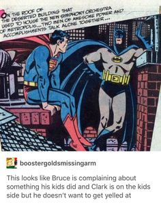 DC Batman Conference on Top of Building Batman aka Bruce Wayne Superman aka Clark Kent Allows Bruce to Let Off Steam He's Talking A Lot. Clark has Plans and Bruce Will be More than Willing Now! Dc Memes, Marvel Memes, Marvel Dc Comics, Nananana Batman, I Am Batman, Online Comics, Batman Family, Fandoms, Dc Characters