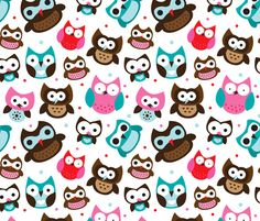 Retro owls fabric by littlesmilemakers on Spoonflower - custom fabric