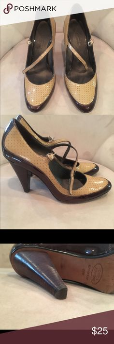 Joan and David maryjane style pumps Dk. Brown/ camel colored leather pumps. Oxford design, Mary Jane style. Excellent condition. Size 8.5 Joan & David Shoes Heels
