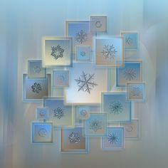Bright crystals 2012-2014: collage with 21 real snowflake macro photos in square frames on light blue background