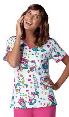 Tooniforms Women's V-Neck Print Scrub Top By Cherokee #Hello_Kitty #Hello_Kitty_Scrubs | allheart.com