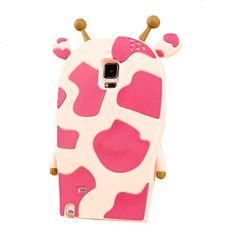 Thunderous 3D Cute Animal Giraffe Silicone Soft Silicon Gel Case Cover Protective Skin for Samsung Galaxy Note 4 Pink