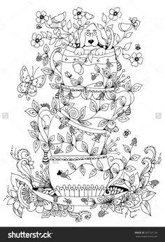 zentangle stack of cups, a cup of dog doodling coloring page