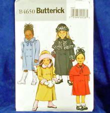 Butterick 4650 Girl's Coat Hat SewPattern 4 Looks 6-8 NEW