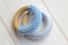 Two Natural Wooden Organic Teething Rings with Cotton - baby gift ideas, eco friendly craft for kids
