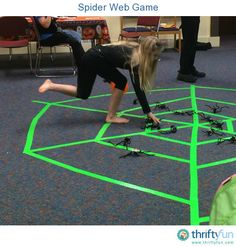 Our kids went to a Halloween party last week and this is one of the games they played. There was a spider web on the floor, made with tape. The spiders were made out of egg carton cups, with chenille stick legs, and googley eyes. The spiders were spread out around the web.