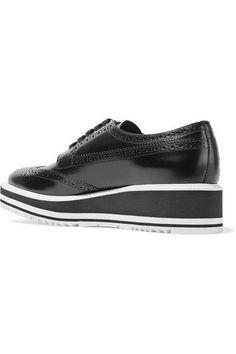 Prada - Glossed-leather Platform Brogues - Black