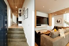 See what colours Alex and Corban used in their living room and their entranceway The Block Nz, Interior Ideas, Interior Design, Living Area, Living Room, Hidden Tv, House Interiors, Kitchen Living, Open Shelving