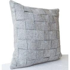 Felt Pillowcases Felt Weave Pillows Throw Pillow Decorative Pillows... (2,315 INR) via Polyvore featuring home, home decor, throw pillows, decorative pillow, gift, handmade pillow, home décor, throw pillow, black and home & living
