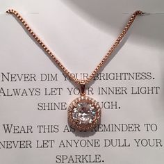 "CZ diamond rose gold necklace CZ diamond with halo of smaller diamonds, rose gold chain, adjustable up to 20"". I originally bought this from a seller on here and although there is absolutely nothing wrong with the necklace, it was not what I was looking for. Never worn. No trades. I am asking what I paid for it but I am open to reasonable offers! Please use offer button! Jewelry Necklaces"