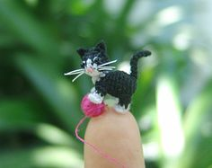 0.4 inch miniature black Dachshund dog Micro amigurumi by LamLinh