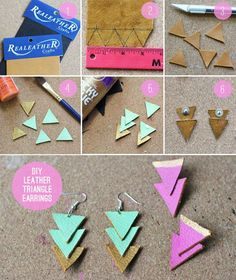 DIY Leather Triangle Earrings - instead of paint try wrapping our Scotch Duct Tape around it! Then they could always be changable! #DIY #fashion #ScotchStyle