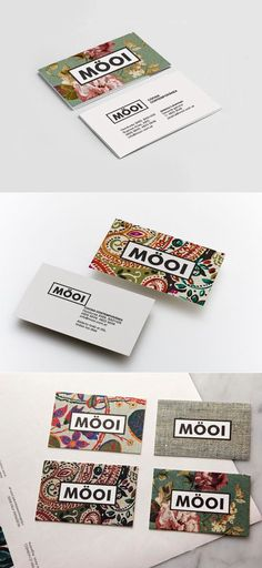 Buisness cards, using colours and patterns to stand out.