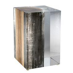 Bout de canapé NILLEQ : bois flotté métallisé et verre acrylique/Sofa end made of driftwood & acrylic cristal. Design Bleu Nature (Source : http://www.bleunature.com/fr/33-bout-de-canape-nilleq-.html)