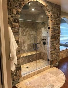 Walk In Bathroom Showers, Rustic Bathroom Shower, Rustic Master Bathroom, Tuscan Bathroom, Rustic Bathroom Designs, Stone Bathroom, Bathtub Shower, Walk In Shower, Walk Through Shower