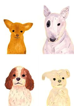 Dog Portraits by Itsuko Suzuki #dogs #illustrations