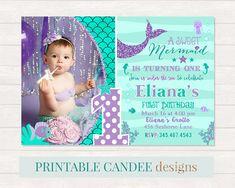 Mermaid 1st Birthday Invitation, Mermaid Invite, Under The Sea Party, Teal Purple Mermaid Invitation, Adorable Mermaid Birthday