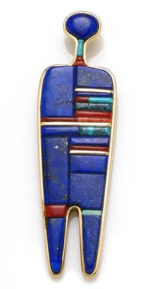 Pendant | Charles Loloma (Hopi). Worked as an abstract human figure, in 14k gold and inlays of gold, lapis, turquoise and spondylus.
