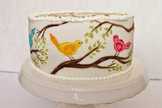 Julias Torten und Törtchen: Vögelchen Torte Bird Cake Nevy Pie Fondant Handpainted Painted Wedding Cake