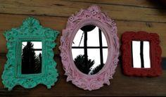 Espejos con marcos de yeso de colores!!