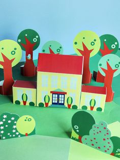 Free download and print Printable paper toy neighborhood for kids. 35+ houses, cars, people to choose from! via SmallforBig.com