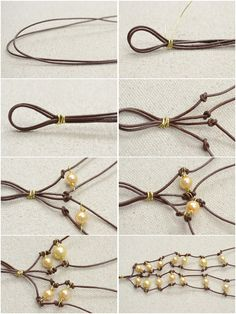 make knotted bracelet with leather cord and pearls