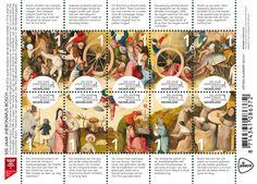 Dit postzegelvelletje met 10 postzegels is uitgegeven in het kader van de viering van de vijfhonderdste sterfdag van Jheronimus Bosch. Op elke postzegel staat een tafereel uit het schilderij De Hooiwagen van Jheronimus Bosch uit de collectie van het Museo Nacional del Prado in Madrid.   http://collectclub.postnl.nl/500-jaar-jheronimus-bosch.html