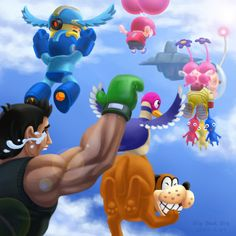 """""""What about me?"""" With Olimar & Pikmin, Villager, Little Mac, Mega Man and Duck Hunt Duo."""