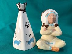 Indian Chief and Tepee salt pepper shakers