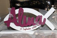 Dekoration - Kommunion Taufe Tischdekoration Fisch Schriftzug  - ein Designerstück von InasNordlichter bei DaWanda