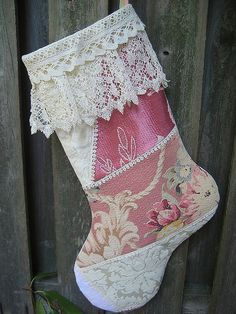 Crazy quilt stocking. Make it longer, with a less rounded toe. Do embroidery and beads along each pieced seam. Shorten the lace a bit.