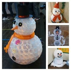 How to make cute snowman with recycled plastic cups step by step DIY tutorial instructions / How To Instructions on imgfave