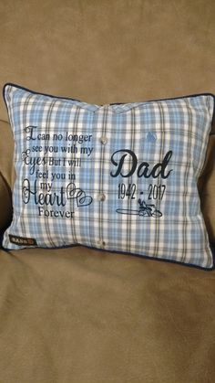 This going to be mom's d-day gift Dad Crafts, Memory Crafts, Sewing Crafts, Sewing Projects, Memory Pillow From Shirt, Memory Pillows, Memory Quilts, Shirt Quilt, Shirt Pillows