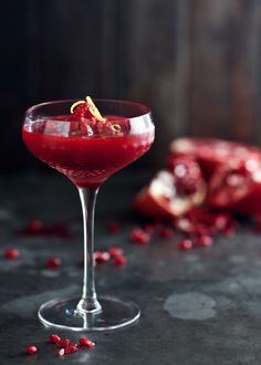 frozen raspberry-pomegranate and vodka cocktail