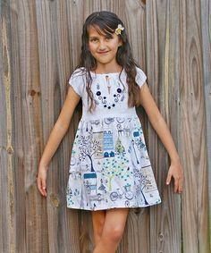 Love this White & Blue Chloe Dress - Infant, Toddler & Girls on #zulily! #zulilyfinds