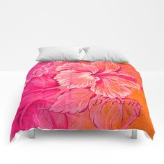 Buy Dream! Comforters by vikki salmela. Worldwide shipping available at Society6.com. Original hand painted #tropical #Hibiscus #flowers in #pink and #orange, for a wonderful night's sleep. Coordinating products available in #homedecor and #apparel as well as #tech #accessories.