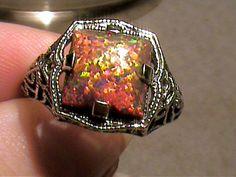 black opal intense orangeredgreen fire emerald by FemmeofTheRings, $75.00