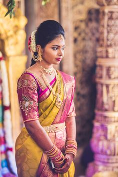 Shopzters is a South Indian wedding site Wedding Saree Blouse Designs, Silk Saree Blouse Designs, Saree Wedding, South Indian Bride, Indian Bridal, Bridal Looks, Bridal Style, Bridal Outfits, Fancy