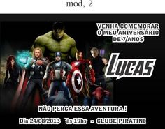 Os- Vingadores- 6 Movie Posters, Movies, Happy Birthday, 7 Year Anniversary, 5 Years, The Avengers, Invitation Templates, Stuff Stuff, Events