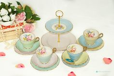 Pretty mismatch of English pastel bone china Tea Set for 4 including Cake Stand & Teacup trios by FlyingSquirrelNest on Etsy 2 Tier Cake Stand, China Tea Sets, Side Plates, Vintage Tea, Vintage Colors, Teacup, Pastel Colors, Bone China, Afternoon Tea